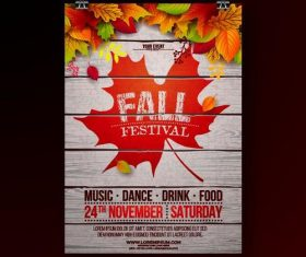 Fall festival party flyer template vector