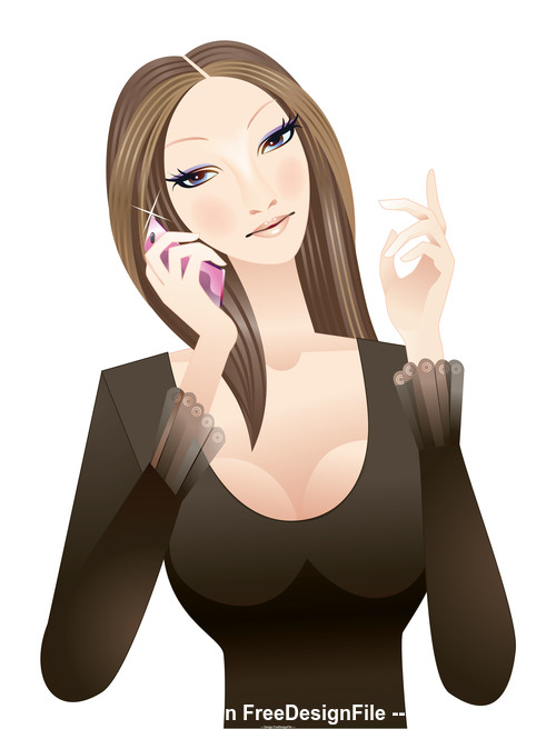 Fashion female phone vector