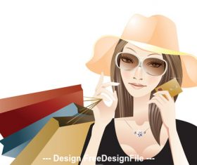Fashion glamour woman shopping vector