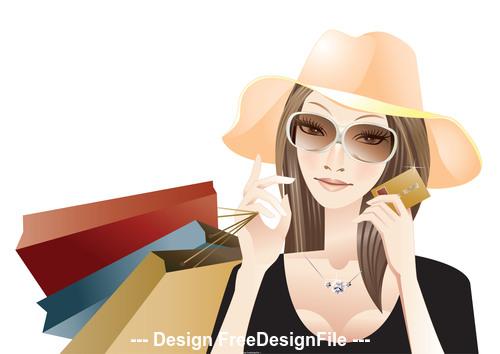 Fashion glamour woman shopping vector