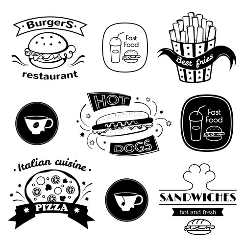 Fast food signs vector