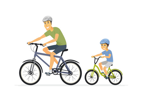 Father and son cycling cartoon people characters vector