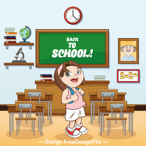 Female student standing in the classroom vector