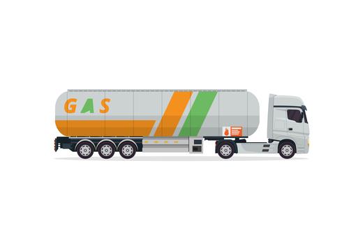 Filling liquid transport truck vector