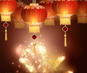 Fireworks and china new year lanterns vector