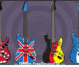 Flag pattern electric guitars art vector