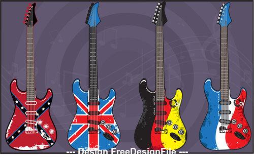 Flag pattern electric guitars art vector