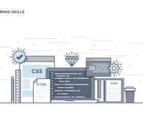 Flat line design programming skills vector