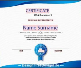 Fluid certificate of achievement templates vector