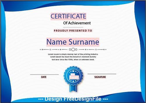 Fluid certificate of achievement templates vector
