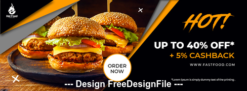 Food Facebook Cover PSD Template