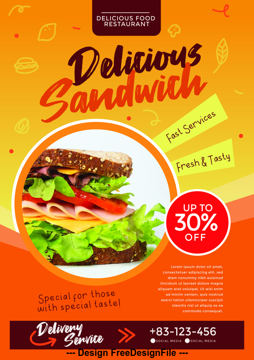 Food PSD Flyer with Poster Template