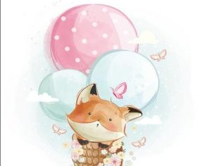Fox watercolor drawings vector illustration