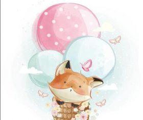 Fox watercolor drawings vector illustration