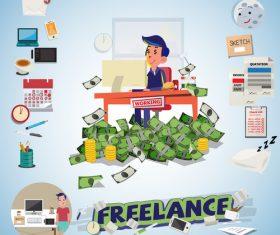 Freelance cartoon illustration vector