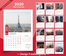 French city landscape 2020 new year wall calendar vector