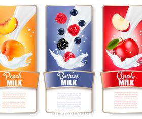 Fresh fruit and splash milk labels vector