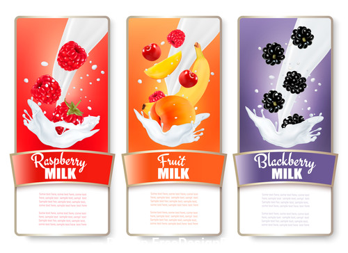 Fresh fruit and splash of milk labels vector