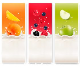 Fresh fruit splash in milk vector