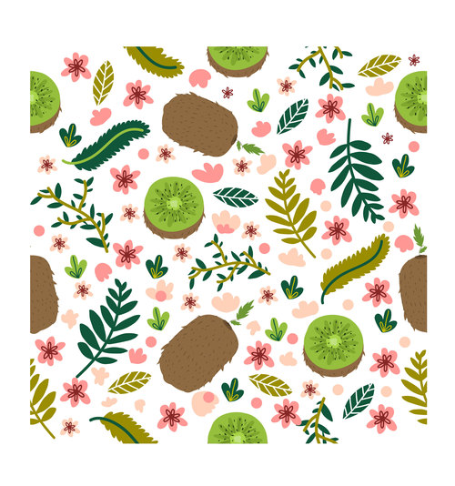 Fresh kiwi pattern cartoon background vector