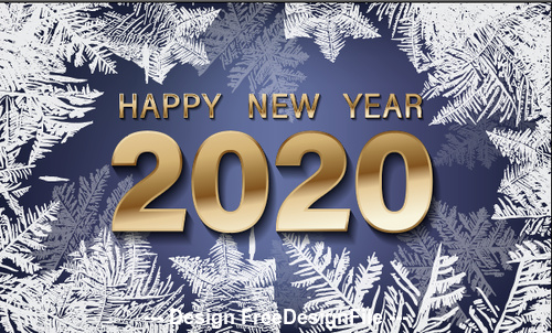Frost crack 2020 new year background vector