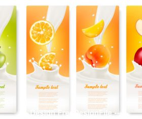 Fruit splash in milk labels banner vector