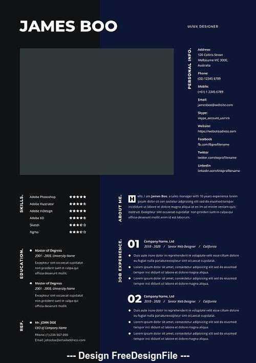 Fullcolor Resume Cv PSD Template