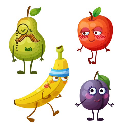 Funny fruit cartoon emoticon vector