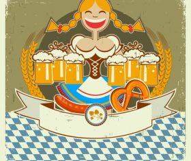 Girl and beer on old paper background vector
