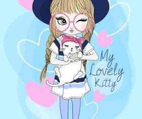 Girl and cat cartoon vector