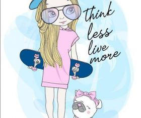 Girl cartoon holding skateboard vector
