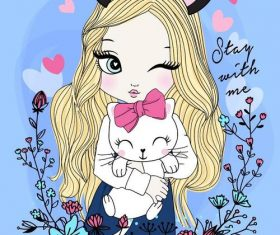 Girl cartoon vector holding a kitten