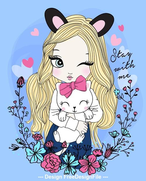 Girl cartoon vector holding a kitten