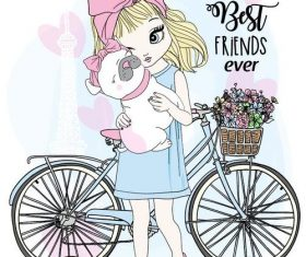 Girl puppy and bike cartoon vector