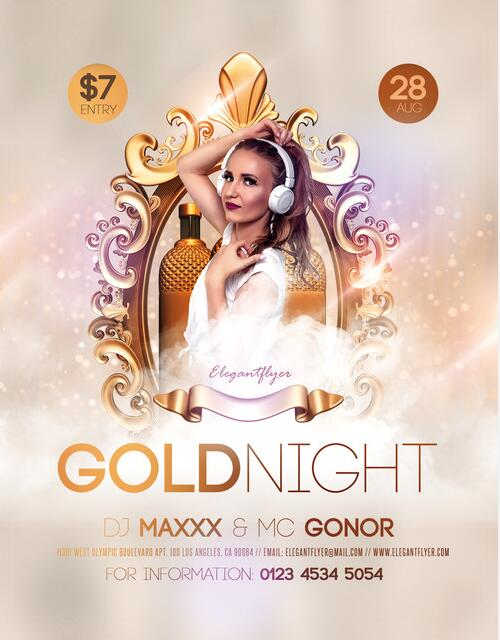 Gold Night PSD Flyer template