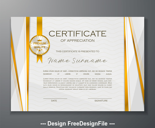Gold line certificate template vector