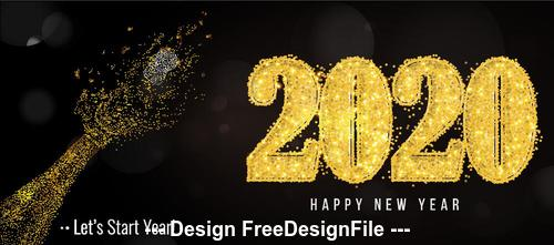 Golden 2020 font and abstract hand new year greeting card vector