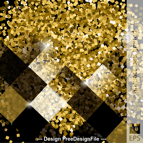 Golden background and black square vector