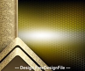 Golden bright hexagonal checkered metal background vector