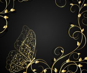 Golden butterfly and flower background vector