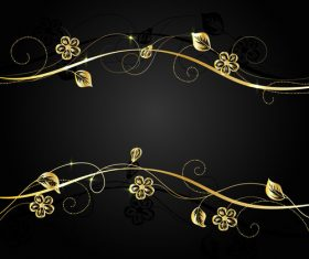 Golden flower branch background vector