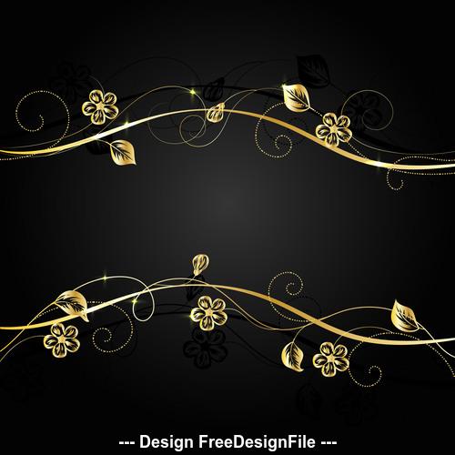 Golden flower branch background vector