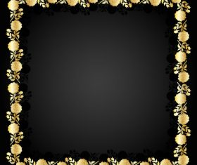 Golden flower frame and dark background vector