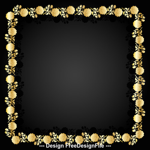 Golden flower frame and dark background vector