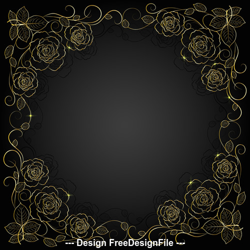 Golden flower silhouette frame background vector