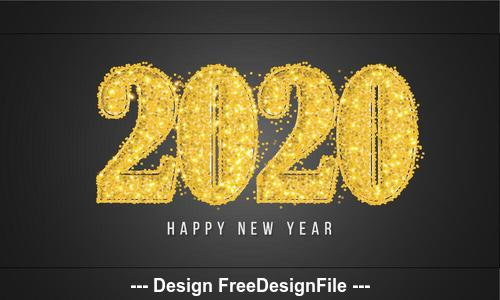 Golden font 2020 new year greeting card vector