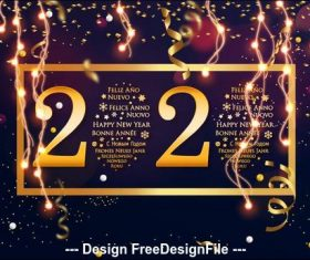 Golden shiny 2020 new year greeting card vector