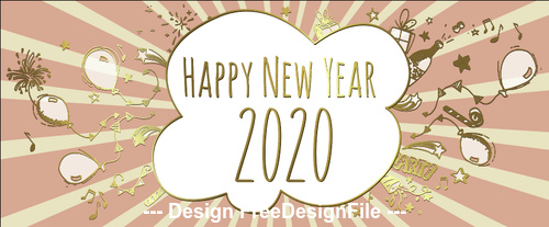 Golden stripes 2020 christmas new year illustration vector