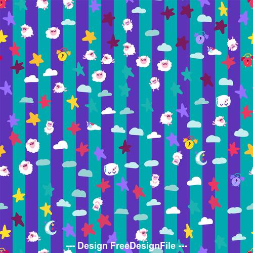 Good night cartoon purple seamless background vector