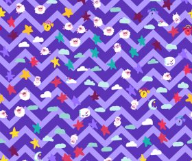Good night cartoon purple wavy seamless background vector